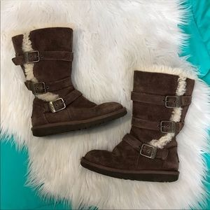 Uggs | Buckle & Zip Fur Lined Boots Girl Size 13